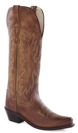 Tall Western Cowboy Boots - Old West Tan Canyon Womens All Leather Snip Toe 14in Tall Cowboy Boots 7.5 M