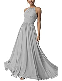 Women's Halter Bridesmaid Dresses Long Chiffon A-Line Formal Dresses Evening Party Gowns 2020