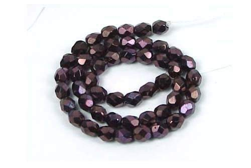 50 Czech Firepolish Faceted Round Metallic Amethyst 4mm ()