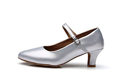 ShangYi Ballroom dance modern dance shoes women's adult women's shoes with soft bottom high-heeled women's dance shoes dance shoes, with height 5cm Silver
