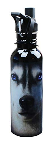JUST FUNKY The Mountain Siberian Husky Face Water Bottle