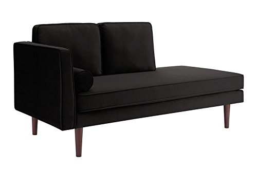 DHP Nola Mid Century Modern Upholstered Daybed and Chaise, Multifunctional and Versatile, Black ()