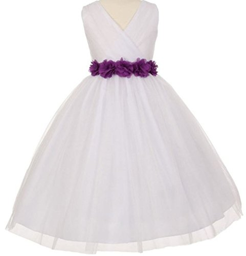 Little-Girls-White-Tulle-V-Neck-Floral-Sash-Flowers-Girls-Dresses