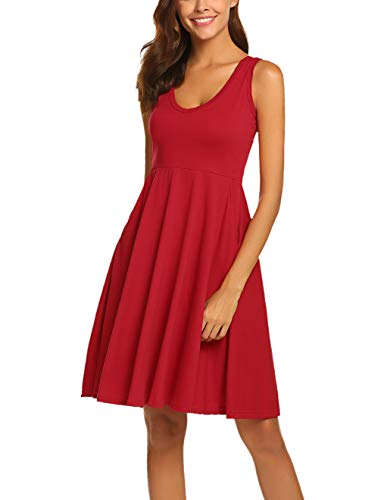 Miselon Womens empire waist fit and flare dress with pocket ()