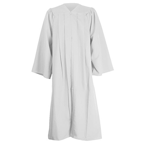 GraduationMall Unisex Premium Matte Graduation Gown Only White Full Fit Size 51FF(5'6
