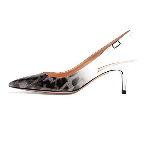 B fermé Bride Escarpins Soireelady Chaussures Bout Petits Talons Escarpins à Leopard Femme arrière Bqf7S