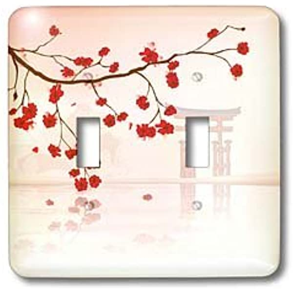 3drose Llc Lsp 116168 2 Beautiful Japanese Sakura Red Cherry Blossoms Branching Reflecting Over Water Oriental Vector Design Double Toggle Switch Switch Plates Amazon Com