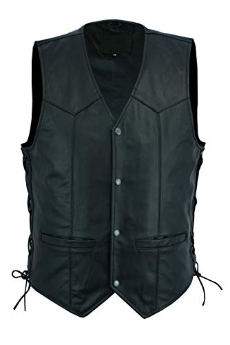 Ruja Men's Classic Motorbike Biker Leather Vest with Side Laces (2XL) ()