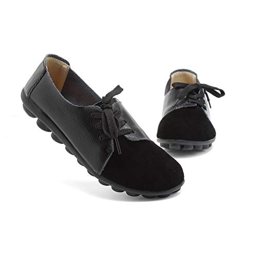 Slip-on Loafers for Women Ladies Girls Black Leather Casual Round Toe Flats Size 8.5 Rubble Sole Breathable Driving Shoes ()