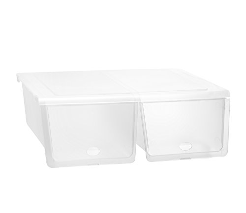 set Storage Organizer Double Shoe Box Hinged Lid Flats, Athletic Shoes, Sandals-Frosty White 2160 (1) ()