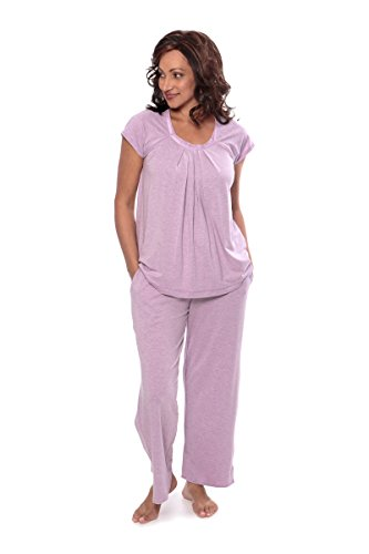 Texere Women's Pajamas in Bamboo Viscose (Bamboo Bliss, Heather Lilac, M) PJs