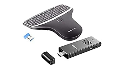 2017 Newest Lenovo Ideacentre Stick 300 Mini Desktop (Intel Atom Z3735F, 2 GB RAM, 32GB eMMC, Windows 10) and Lenovo N5902 Enhanced Multimedia Remote with Backlit Keyboard Bundle