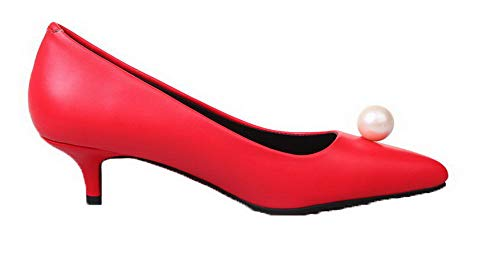 Chiusa Flats Rosso Donna Ballet Punta FBUIDD006796 Tirare Luccichio AllhqFashion Puro tOaRqwA