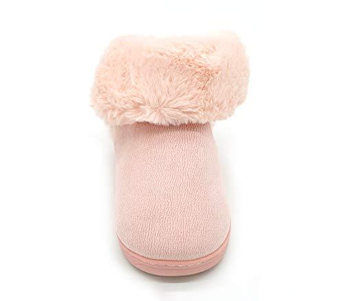 Bootie Pink Plush Indoor Women's House Slippers Navoku Outdoor Fuzzy AEY8qxwv