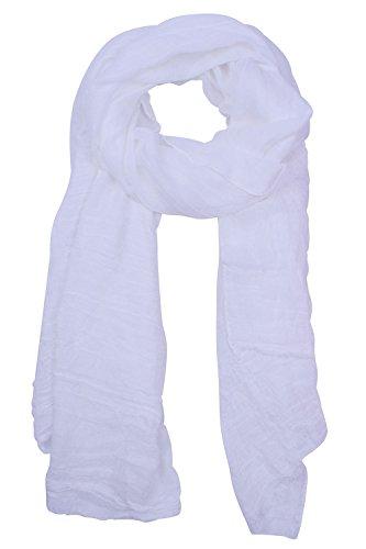SUNNYTREE Lady White Scarf Large Super Soft White Scarf Cotton Scarf Shawl White