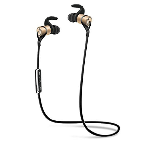 Wireless Earphone Stereo Bluetooth (JIAMEIYI Bluetooth Headphones, Magnetic Wireless Bluetooth Earphones Stereo Sweatproof Magnetic Earbuds Secure Fit for Sports Gym Running Exercising with Built-in Mic Microphone (Gold))