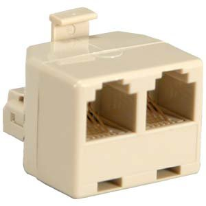 Telephone Splitter Adapter 1 Male to 2 Female RJ-11 Ivory. The SplitterM. Use with any standard RJ-11 Phone Jack.