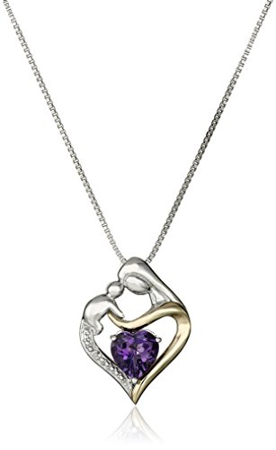 14k Mom Heart (Sterling Silver and 14k Yellow Gold Heart Mother's Jewel Amethyst and Diamond Accent Pendant Necklace, 18