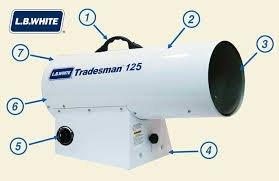 Tradesman L.B. White 125 LP Portable Forced Air Heater - 70-125K BTU CP125