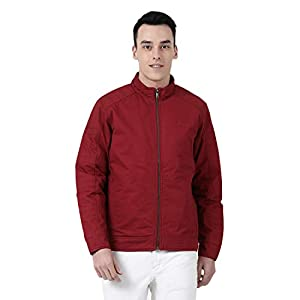 Monte Carlo Red Solid Polyester Polo Collar Jacket