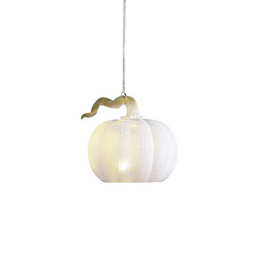 Anvehu Ornaments White Pumpkin Gourd Lantern Ornament Crackled Glass Design LED Lights Fall Autumn Halloween & Thanksgiving Decorations Includes Removable Hanging Spiral Chain