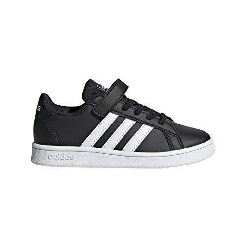 adidas Unisex Grand Court Sneaker, Black White, 2 M US Little Kid Court Kids Skateboard Shoe