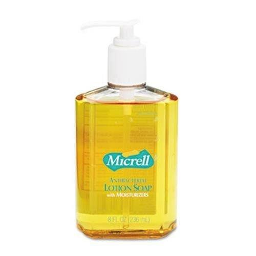 GOJO MICRELL Antibacterial Lotion Soap, Unscented Liquid, 8oz Pump