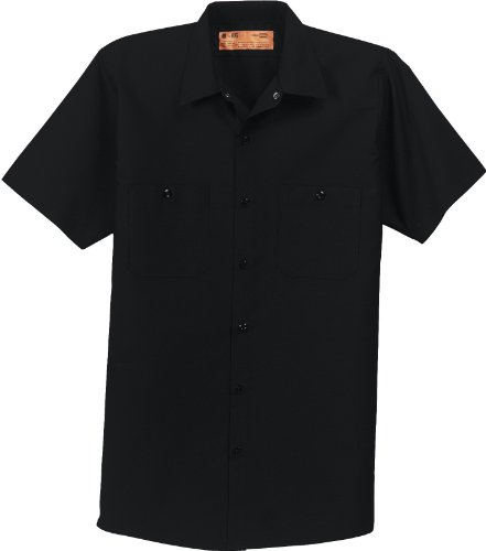 Red Kap Short Sleeve Industrial Work Shirt. SP24 Black XXXXX-Large by Red Kap