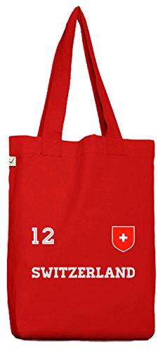 ShirtStreet Swiss Fußball WM Fanfest Gruppen Bio Baumwoll Jutebeutel Stoffbeutel Trikot Schweiz Red