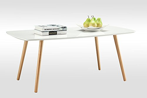 Convenience Concepts Oslo Coffee Table, White - White piano finish table top Solid wood legs Easy assembly - living-room-furniture, living-room, coffee-tables - 31p3xxh8LzL -