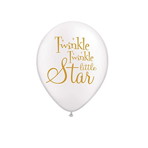Twinkle Twinkle Little Star Balloons White Set of 3 Twinkle Twinkle Little Star Baby Shower Decorations - Gender Reveal Balloons- Baby Shower Balloons
