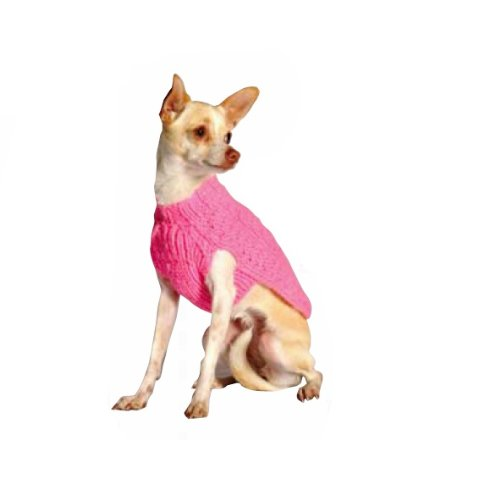 (Chilly Dog Pink Cable Dog Sweater, Large)