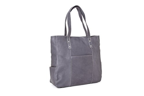 (Le Donne Leather Women's Leather Slip Pocket Tote, Grey)