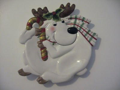 Fitz & Floyd Plaid Christmas, Deer Canape Plate, New in Box