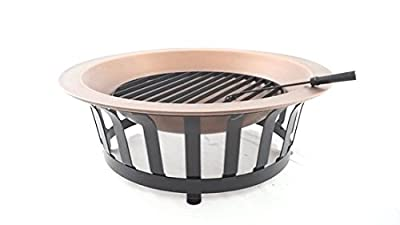 """Titan 40"""" Solid 100% Copper Fire Pit Bowl Wood Burning Patio Deck Grill"""