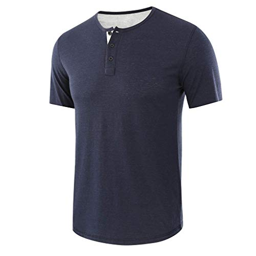Men's T-Shirt Baggy Solid Short Sleeve Button O-Neck Tops Blouses Dark Blue