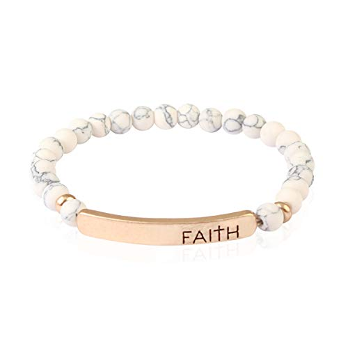 RIAH FASHION Inspirational Bar Natural Stone Stretch Prayer Bracelet - Christian Religious Message Adjustable Cuff Bangle Amazing Grace/Blessed/Faith/Love/Hope/Bible (Faith - White ()