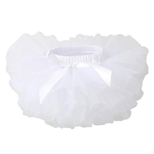 TRADERPLUS Baby Girls Chiffon Pettiskirts Tutu Tulle Skirt Toddler Newborn Costume Bow-Knot Dress with Underskirt (White, Large 12-24 Months) ()