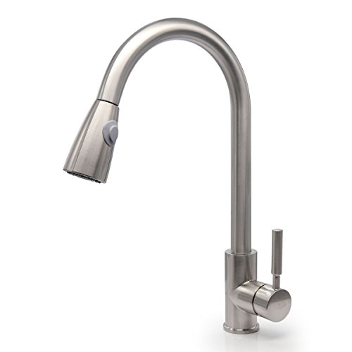 Gooseneck Single - RAINMAX Kitchen sink faucet with Single Handle Brushed Nickel High-Arch Stainless Steel Dual Function Stream and Sprayer Hot & Cold Mixer Ideal for Bathroom Vanity Lavatory UPC NSF AB1953 Compliant