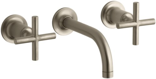(KOHLER K-T14412-3-BV Purist Two-Handle Wall-Mount Lavatory Faucet Trim with 6