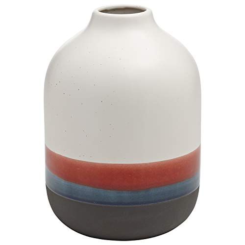 (Rivet Westline Modern Indoor Outdoor Hand-Painted Stoneware Flower Vase - 9.5 Inch, Red White Blue Black)