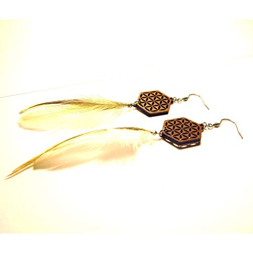 Bohemian Long Feather Earrings Inverted Flower of Life, Laser Cut Wood Jewelry, Sacred Geometry