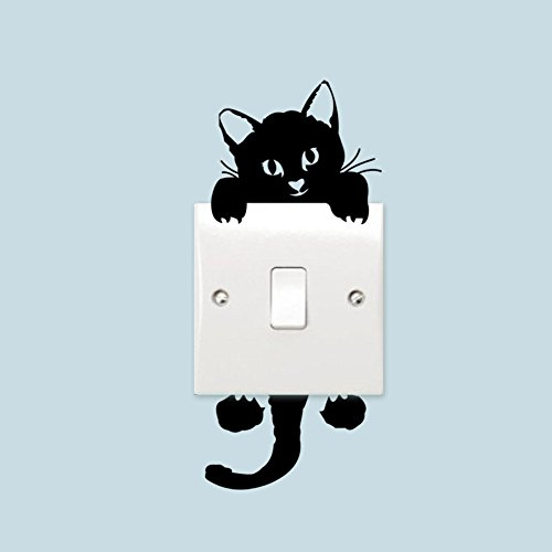 JD Million shop DIY Funny Cute Black Cat Switch Decal Wallpaper Wall Stickers Home Decoration Bedroom Kids Room Light Parlor Decor Sticker - Glass Frames Fathead