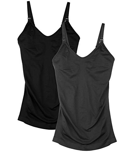 Womens Nursing Tank Tops for Breastfeeding with Built in Bra Maternity Camisole 2Pack Color Black Grey Size M