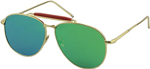 Vivian & Vincent Classic Aviator Style Large Metal Frame Full Mirrored Sunglasses Gold Frame Green ()