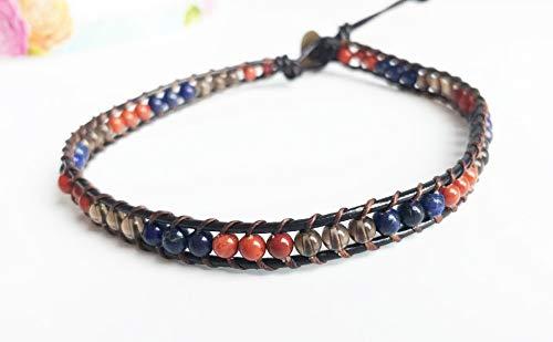 Lapis Red jasper Smoky quartz Choker necklaces leather choker red blue gray choker gemstone choker men women choker beaded -