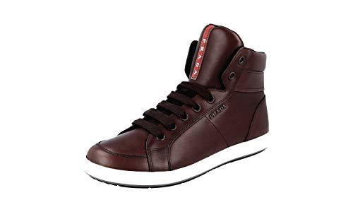 Prada Men's 4T2842 OLV F0192 Brown Leather Sneaker EU 11 (45) / US 12
