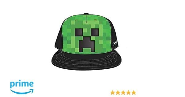 6d78ee5a74eb9 Amazon.com  Bioworld Minecraft Creeper Face Snapback Hat Cap Youth Boys  Size OSFM  Clothing