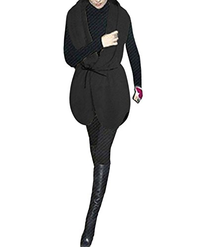 Mujer Algodón Sin Moda Mangas Chaqueta Bolsillos Elegante Chaleco Invernal Abrigo Styledome Casual Negro UdtZqnzxU