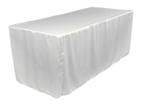 - TEKTRUM 6-Feet Long Fitted Table DJ Jacket Cover for Trade Show - Thick/Heavy Duty/Durable Fabric - White Color (TD-JKT-WHT-6FT)